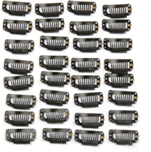 20pcs Metal Snap Clips for Hair Extensions DIY Clip in on Hair Extension Wigs 9 Teeth 32mm 1.2g/pc Black Brown Beige Color (Black)