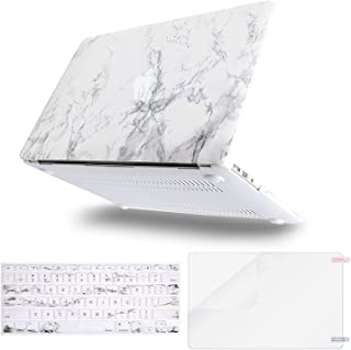 MOSISO MacBook Air 13 Case (A1369 & A1466, Release 2010-2017 Older Version), Plastic Pattern Hard Case & Keyboard Cover & Screen Protector Only Compatible MacBook Air 13 Inch, White Marble