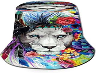 Fisherman Hat Colorful Lion King Flowers Bucket Hat Unisex 3D Printed Packable Bonnie Cap UV Protect Lightweight Sun Hat for Picnic Hunting Fishing Golf Hiking