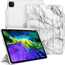 """CaseBot Case for iPad Pro 11"""" 2020 & 2018 with Pencil Holder [Supports 2nd Gen Pencil Charging] - SlimShell Lightweight Stand with Translucent Frosted Back Cover, Auto Wake/Sleep, Marble White"""