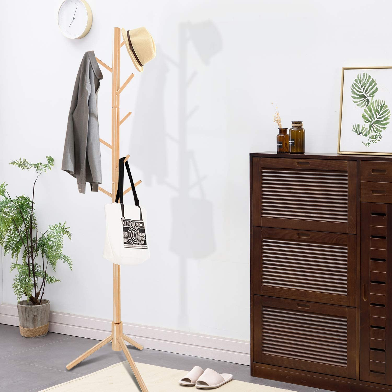 Accessories,Super Easy Assembly Hallway//Entryway Coat Hanger Stand for Clothes Suits Clewiltess Wooden Tree 8 Hooks Coat Rack Stand Natural