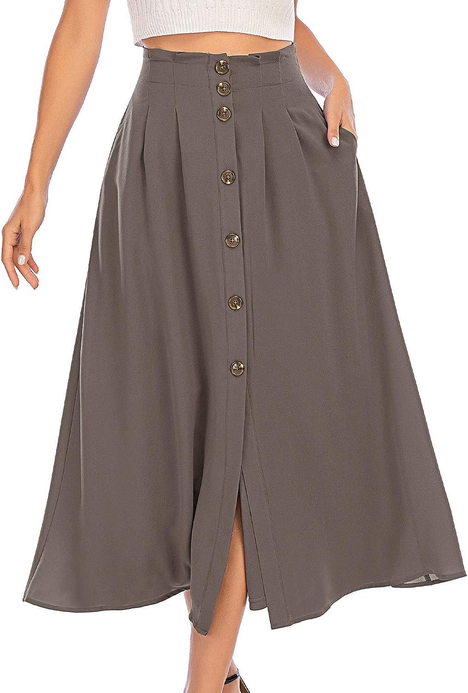 DRESSTELLS Women's Midi Skirt with Pocket & Button Front A line Summer Swing Skirts