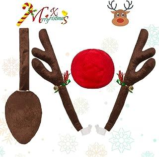 BESTOYARD Corna di Renna e Naso Rosso per Auto Veicolo Natale Decorazione Peluche Rudolf Corna di Renna Accessori Natalizi Marrone