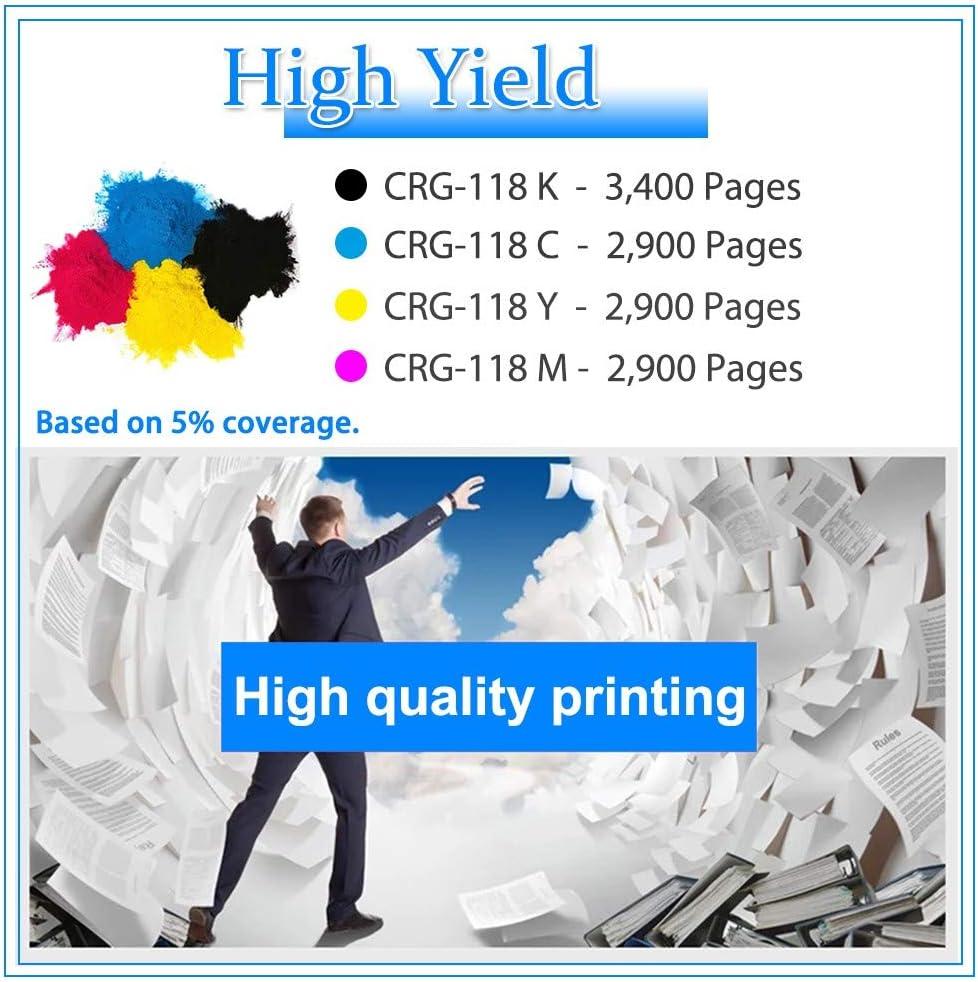 5-Pack (2K+C+Y+M) Compatible LBP7200Cd LBP7200CN LBP7200Cdn LBP7210Cdn Printer Toner Cartridge Replacement for Canon Color imageCLASS CRG-118 Cartridge 118 High Yield Toner Cartridge