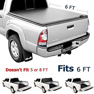 Leader Accessories 6ft Tri Fold Soft UV Protect Tonneau Cover Compatible with 2016 2017 2018 TOYOTA Tacoma Trucks Styleside Bed