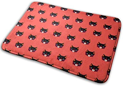 Geometric Cat On Red Background Carpet Non-Slip Welcome Front Doormat Entryway Carpet Washable Outdoor Indoor Mat Room Rug 15.7 X 23.6 inch