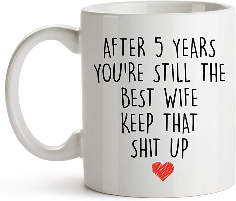 YouNique Designs 5 Year Anniversary Coffee Mug For Her 11 Ounces 5th Wedding Anniversary Cup For Wife Five Years Fourth Year 5th Year