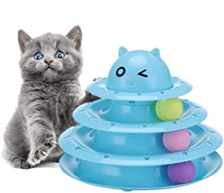 Mumoo Bear Cat Toy 3 Layers Turntable Ball Anti Skid Pet Kitten Toys with 3 Color Balls Cat Tracks Ball