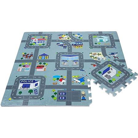Leo & Emma Jeux de Rue Tapis Puzzle Tapis de Sol Puzzle, Circuit de trafic, 9 pièces a 30 x 30cm (Police)