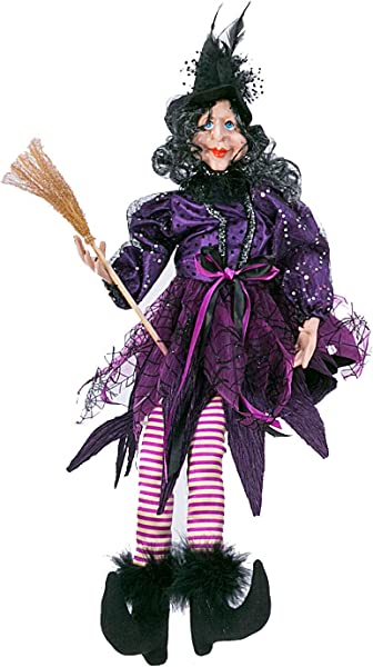 一个假期的复古万圣节金属坐魔女娃娃带晃来晃去腿桌面万圣节装饰紫色
