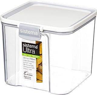 Sistema J7S91 Ultra Square Food Container, 700ml, White & Stone