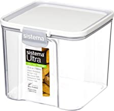 Sistema J7S91 Ultra Square Food Container, 700ml, White & Stone
