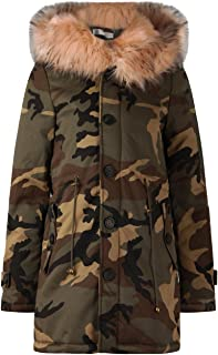 6490ce9d5b1a2 Momo Fashions Ladies Faux Fur Lined Camouflage Hooded Parka Coat UK Size  8-12