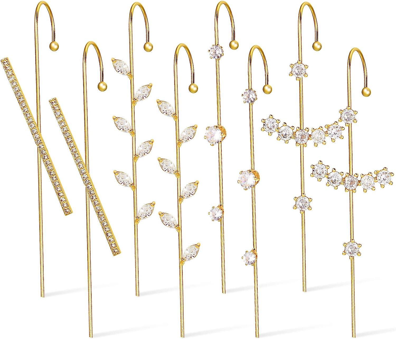 4 Pairs Ear Cuff Wrap Crawler Hook Earrings Gold Plated Rhinestone Crawler Earrings Long Piercing Wrap Climber Earrings for Women Valentine Birthday