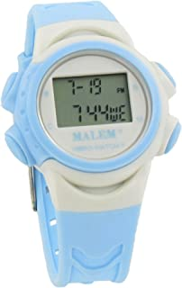 Malem Vibro-Watch 12 Alarm Vibrating Watch - White/Light Blue