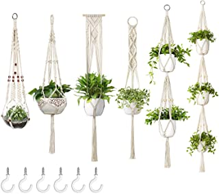 Dahey Macrame Plant Hangers with 6 Hooks, Different Tier 6 Pack Handmade Cotton Rope Hanging Planters Set, Flower Pots Hol...