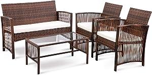 Veryke 4 Pieces Outdoor Patio Furniture Sets Rattan Chair Wicker Set,Outdoor Indoor Use Backyard Porch Garden Poolside Balcony Furniture