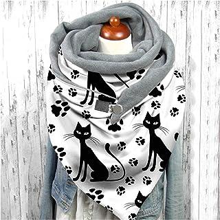 scarf 2020 lady fashion retro female multi-purpose scarf button scarf wraps women cute cat print scarf hijabs (Farbe : D)