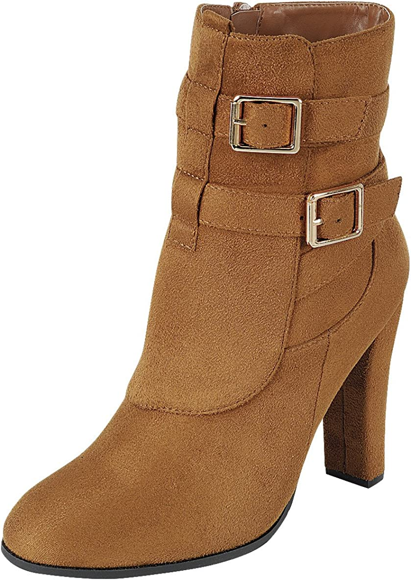Cambridge Select Women's Strappy Buckle Chunky Wrapped Heel Ankle Bootie