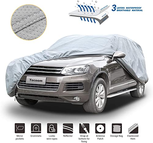 high quality Tecoom outlet sale HD Super Breathable Waterproof Windproof Snow Sun Rain UV Protective Outdoor All Weather SUV new arrival Car Cover Fit 180-195 Inches SUV online sale