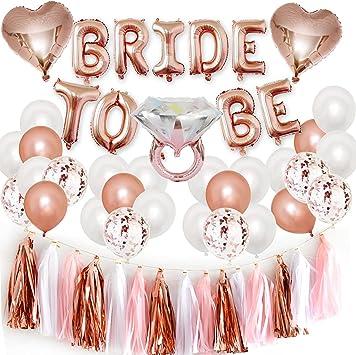 Oferta amazon: Bride to Be Globos Banner para Fiestas de Despedida de Soltera con Globos de Oro Rosa, Confetti Globos par Hen Party Decoration Accesorios de decoración de Fiesta de gallina