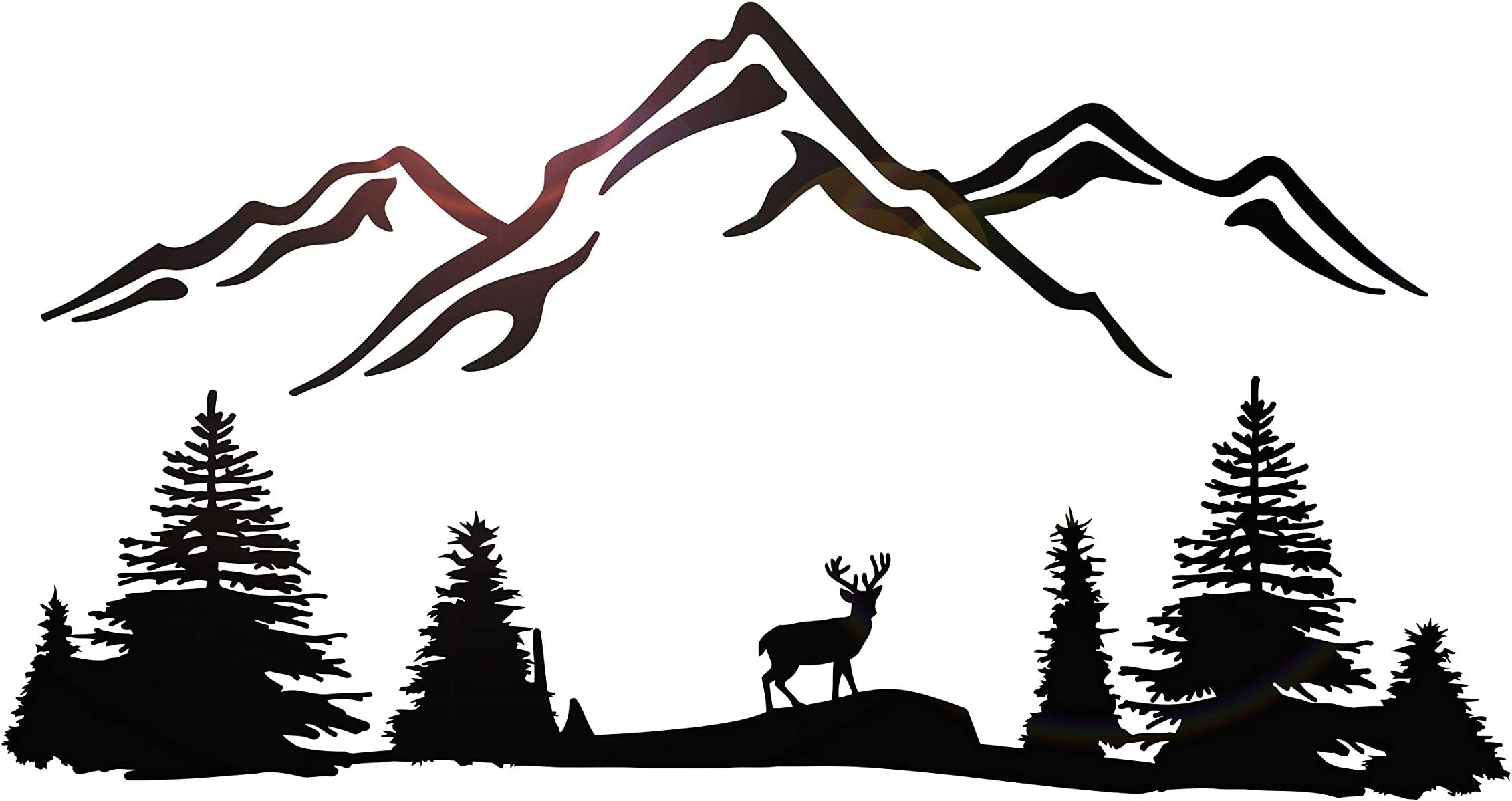 Forest Wall Decal Mural-Mountains-Deer-River-Outdoor Camping Kids Wall Art-Nursery Wall Decals-Mountain Decals-Nature-Trees-Decals