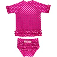 RuffleButts Little Girls Rash Guard Short Sleeve 2-Piece Swimsuit Set - Polka Dot Bikini with UPF...