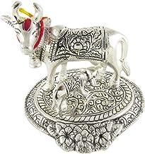 VRINDAVANBAZAAR.COM White Metal Kamdhenu Cow and Calf Showpiece - 13 cm