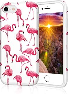 Flamingos iPhone 8 Phone Case for Girls, Glossy TPU Soft Rubber Silicone Cover Protective Bumper Case for Apple iPhone 7 / iPhone 8