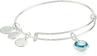 Women's Swarovski Color Code Bangle March Aquamarine Bracelet, Shiny Silver, Expandable