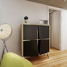 Bonamaison Bookcase with Metal Legs 4 Doors Sapphire Black, Furniture for Living Room, Bedroom, Kitchen, Office - Designed...