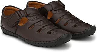 Rising Wolf Latest Causal Men's Leather Sandals and Floaters