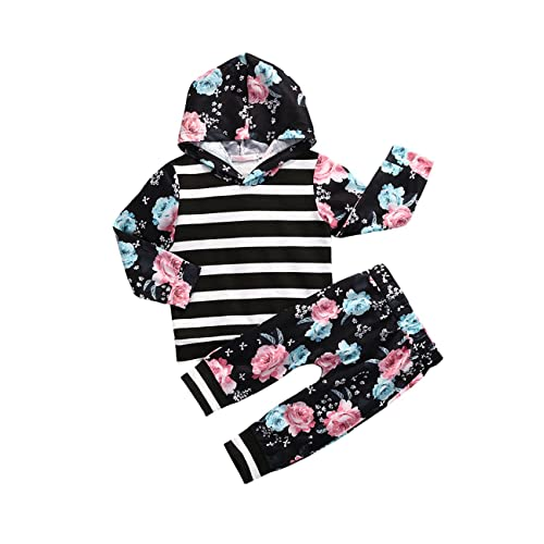 Gogoboi Toddler Infant Baby Girls Flower Long Sleeve Hoodie Tops Sweatsuit  Pants Outfit Set fe81a2ef42db