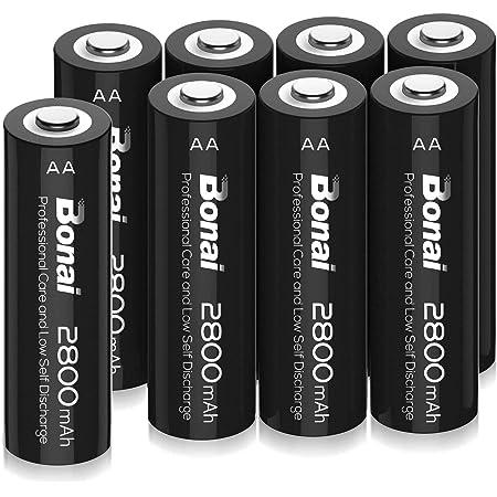 BONAI 単3形 充電池 充電式ニッケル水素電池 8個パック(超大容量2800mAh 約1200回使用可能) 液漏れ防止設計 自然放電抑制 環境友好タイプ