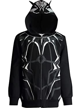 Marvel Avengers Black Panther Boys' Zip-Up Costume Hoodie