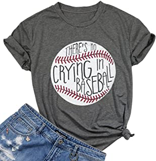Theres No Crying in Baseball Letter T-Shirt Women Short Sleeve Funny Blouse Tee Top
