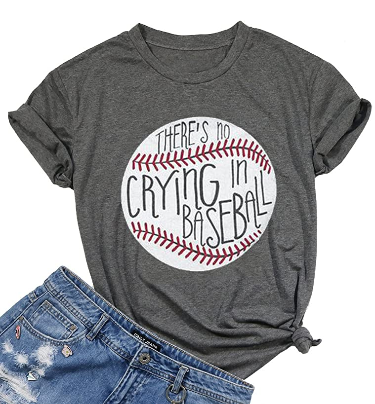 There's No Crying in Baseball Letter T-Shirt Women Short Sleeve Funny Blouse Tee Top