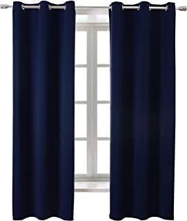 WONTEX Blackout Curtains Room Darkening Thermal Insulated with Grommet Window Curtain for Living Room, 38 x 63 inch, Navy, 2 Panels