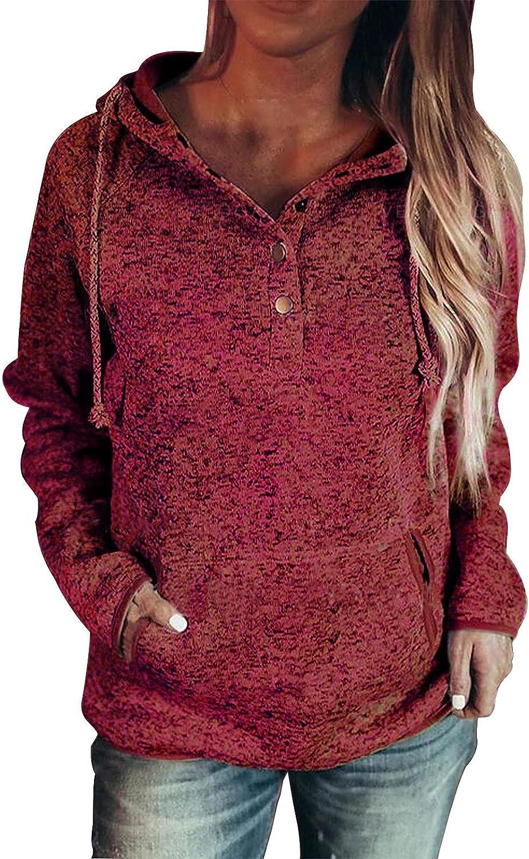 Women's Button 100% quality warranty! Color Block Super beauty product restock quality top Sweatshirts Sleeve Hoodies Casua Long