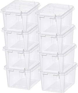 Lot de 8 Petites Boîtes de Rangement - Rangez Votre Maison avec Style et Praticité - Plastique - Transparent - Classic 1,5...