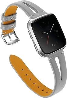 Vervangende Riem Compatibel Met Fitbit Versa 2 / Fitbit Versa/Fitbit Versa Lite, Dunne Leren Banden Polsband Polsband Voor...