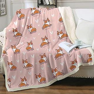 Dog Fleece Blanket Dog Blankets for Kids Boys Girls Adults Plush Soft Blanket Warm Cozy Cute Animals Bed Blanket Corgi for...
