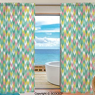 Symmetric Shutters Decorative Sheer Curtains for Kitchen Window Drapes with Rod Pocket for Small Windows,2 Panels,Teal,Vertical Herringbone Pattern in Pastel Colors Chevron Ethnic Arrows Print Decora