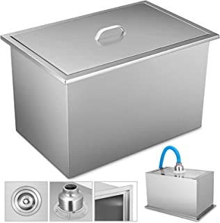 Happybuy Drop in Ice Chest 20.6x13.6 Inch with Cover Drop in Cooler Stainless Steel Drop in Ice Bin for Cold Wine Beer Juice