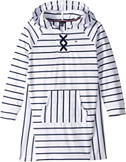 Hooded Lace-Up Sweatshirt Dress (Big Kids)