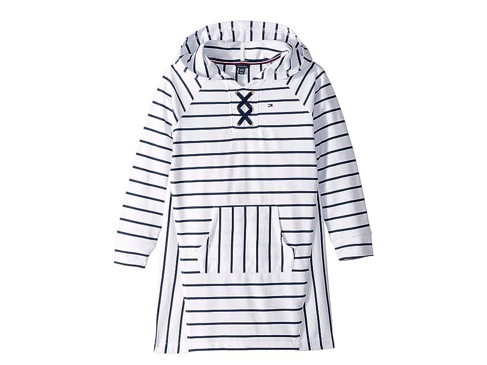 Tommy Hilfiger Kids Hooded Lace-Up Sweatshirt Dress (Big Kids) (White) Girl