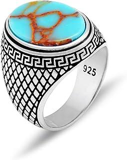 خاتم من الفضة الإسترلينية للرجال بتصميم يوناني ميندر من تشيكوتا، مع حجر فيروزي عتيق بيضاوي