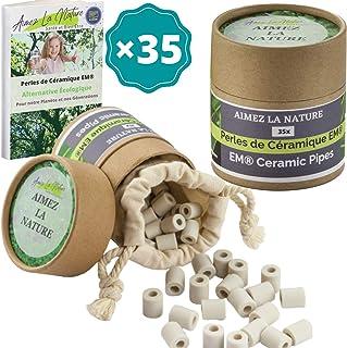 Aimez La Nature 35 Perles de Céramique EM® Grises Avec Sachet Coton Certifié Bio et Pack Ecologique Purificateur Naturel E...