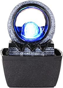 WICHEMI Tabletop Water Fountains with Illuminated Rolling Ball, Feng Shui Zen Indoor Waterfall and Calming Water Sound Indoor Relaxation Fountain for Home Office Decor (Style 2)