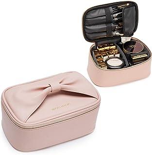 Travel Makeup Bag, BEGIN MAGIC Makeup Organizer Bag Cosmetic Train Case with Brush Holder Bow-knot Handle Portable Waterproof Makeup Brushes Bag Makeup Case Organizer for Women and Girls